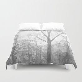 Black and White Forest Illustration Duvet Cover