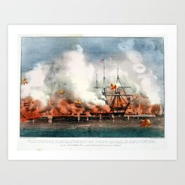 """Currier and Ives, """"Victorious Bombardment of Port Royal by the United States Fleet Art Print"""