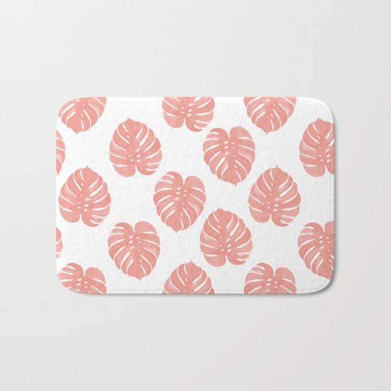 Monstera house plant minimal watercolor painting trendy gifts for anyone leaves tropical beach Bath Mat
