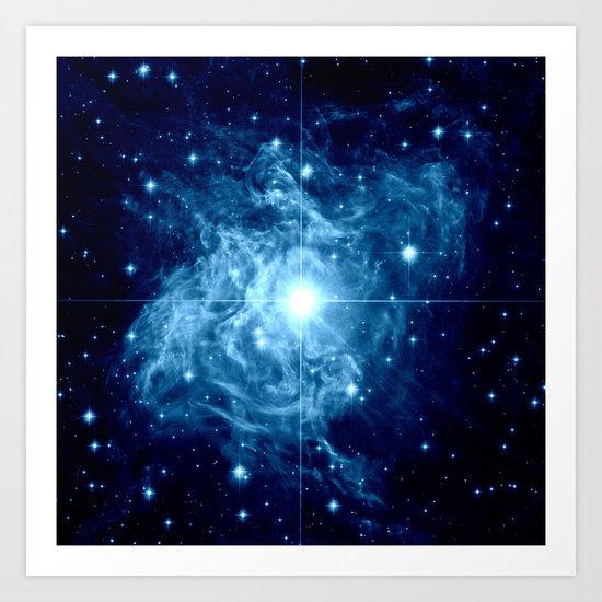 Turquoise Galaxy Star Art Print