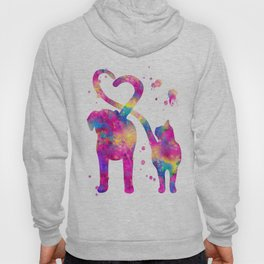 Cat and Dog With Heart Tails Watercolor Painting 2 Hoody