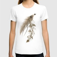 bohemian T-shirts featuring Bohemian Feather by LouJah