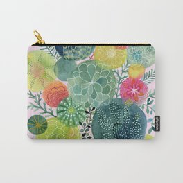 Succulent Circles on Pink Carry-All Pouch