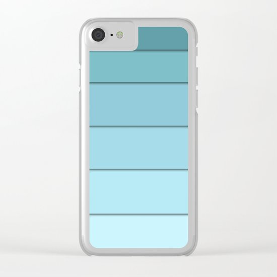 Colorful geometric striped pattern in shades of blue . Clear iPhone Case