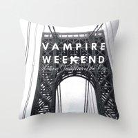 vampire weekend Throw Pillows featuring Vampire Weekend / George Washington Bridge by Harold's Visuals