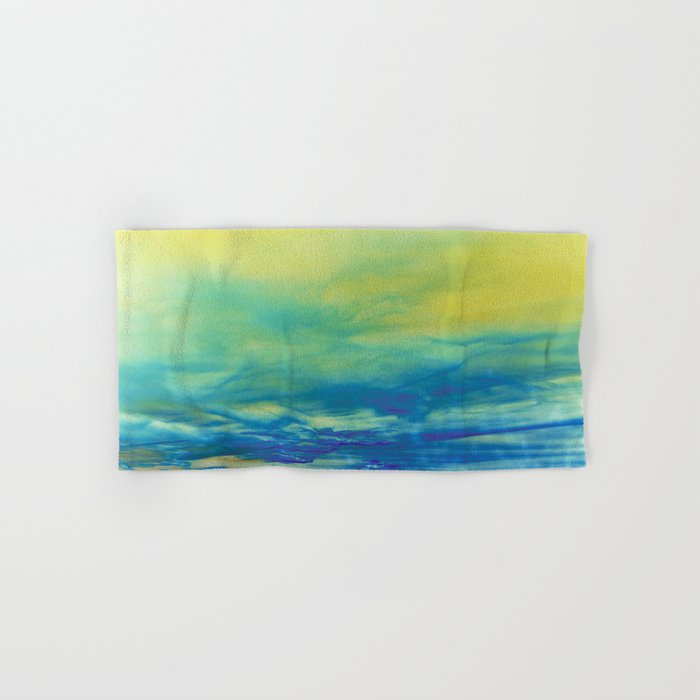 YELLOW & BLUE TOUCHING #1 #abstract #art #society6 Hand & Bath Towel