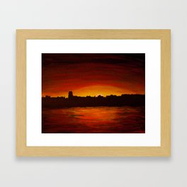 Dutch river shore sunset Framed Art Print