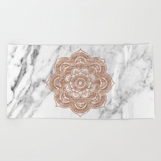 Rose gold mandala on marble Beach Towel