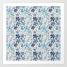 My Little Garden blue & green Art Print
