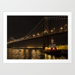 Bay Bridge Fire Boat at Night Art Print
