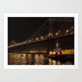 Bay Bridge Fire Boat at Night Art Print