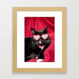 Cute Kitty in Heart Shaped Glasses Framed Art Print