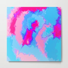 Girly Pink and Blue Abstract Digitized Watercolor Metal Print