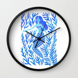 Kelp Forest Mermaid – Blue Palette Wall Clock