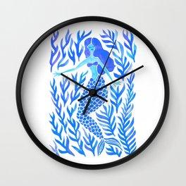Kelp Forest Mermaid – Blue Palette Wall Clock
