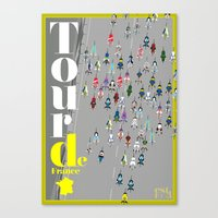 tour de france Canvas Prints featuring Tour De France by Wyatt Design