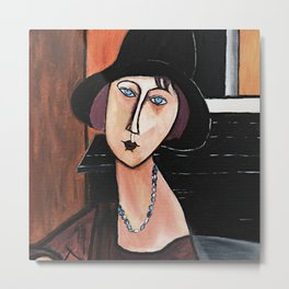 Woman with hat and necklace Metal Print