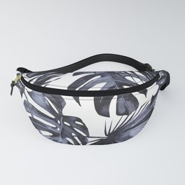 Classic Palm Leaves Navy Blue Fanny Pack