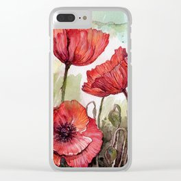 Red poppies 3 Clear iPhone Case