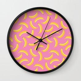 Bananas & Solid Pink Wall Clock