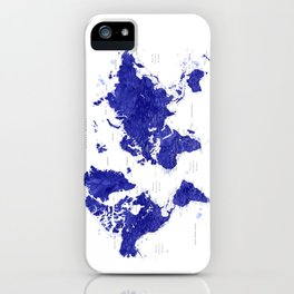 """Navy blue watercolor world map with cities, """"Ronnie"""" iPhone Case"""