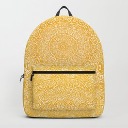 The Most Detailed Intricate Mandala (Mustard Yellow) Maze Zentangle Hand Drawn Popular Trending Backpack