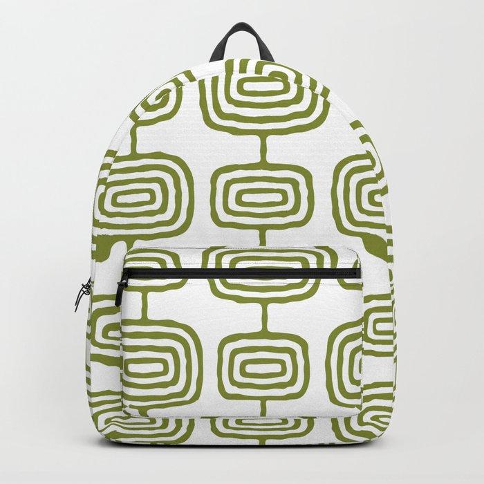Mid Century Modern Atomic Rings Pattern Olive Green 3 Rucksack