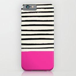 Bright Rose Pink x Stripes iPhone Case