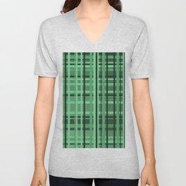 checkered Design green Unisex V-Neck