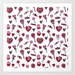 Valentines candy hearts chocolates love gifts for sweetheart Art Print