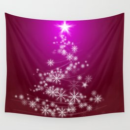 Whimsical Glowing Christmas Tree with Snowflakes in Red Bokeh Wall Tapestry
