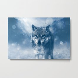 Wolf and Snow Metal Print