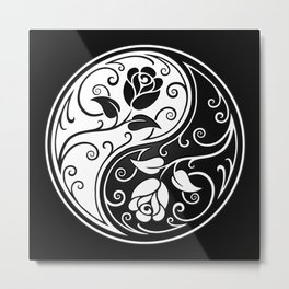 Black and White Yin Yang Roses Metal Print