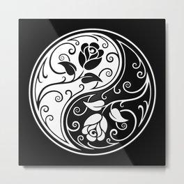 Black and White Yin Yang Roses Metal Print