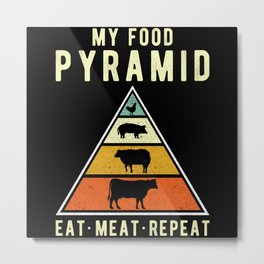 Meat Eater Meat Saying Funny Metal Print