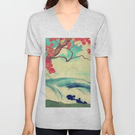 Waking to the Wild and Beautiful Ocean of Dhin Unisex V-Neck