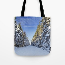 Trail through beautiful winter forest on a clear day Tote Bag