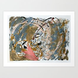 Symphony [2]: colorful abstract piece in gray, brown, pink, black and white Art Print
