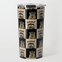 Guenon Racoon Pattern Travel Mug