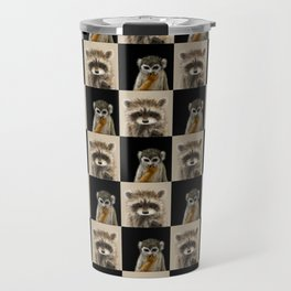 Guenon Racoon Pattern Travel Mug