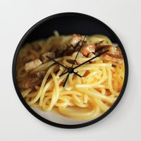 pasta Wall Clocks featuring Pasta by alemazza