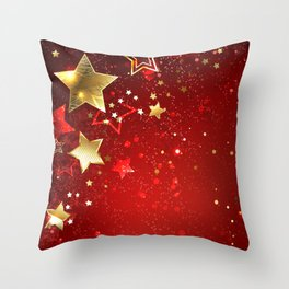 Gold Star on a Red Background Throw Pillow
