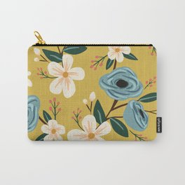 Mustard and Blue Floral Carry-All Pouch