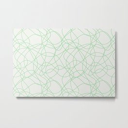 Pastel Green Scribbled Lines Abstract Hand Drawn Mosaic on Off White 2020 Color of the Year Neo Mint Metal Print