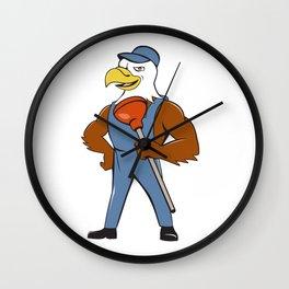 Bald Eagle Plumber Plunger Isolated Cartoon Wall Clock