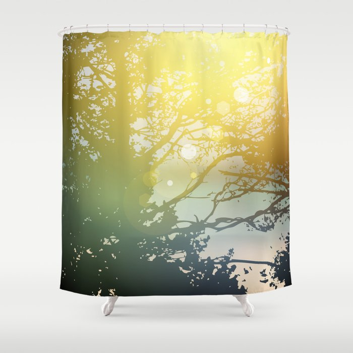 Summer Design Forest Trees Nature Green Wood Sunlight Natural Background Shower Curtain By Ekaterinap