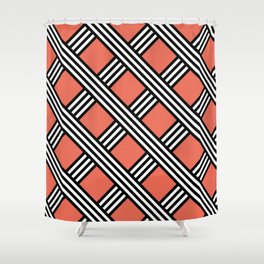 Pantone Living Coral, Black & White Diagonal Stripes Lattice Pattern Shower Curtain