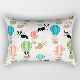 Corgi hot air balloon ride cute gifts for corgi lovers welsh corgi red and tricolored Rectangular Pillow