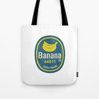 sticker Tote Bags featuring Banana Sticker On White by Karolis Butenas
