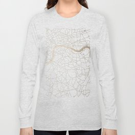 White on Gold London Street Map Long Sleeve T-shirt